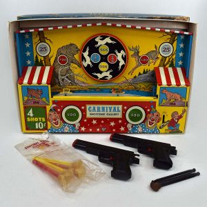 Carnival Shooting Gallery by Ohio Art Tin Wind Up Toy With Guns And Darts/Box