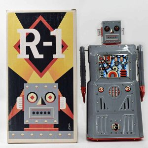Rocket USA R-1 Robot Battery Operated 2003 Gray Color