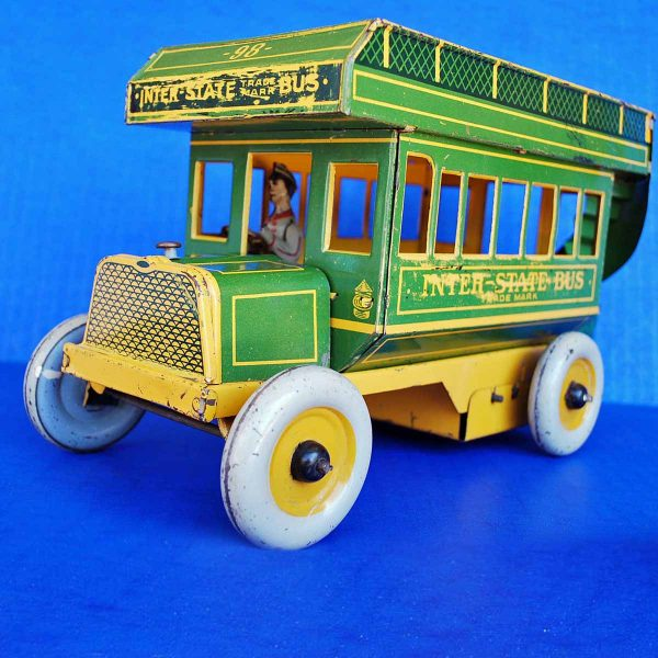 1930's Strauss Tin Litho Inter-State Bus Wind-up (Green)